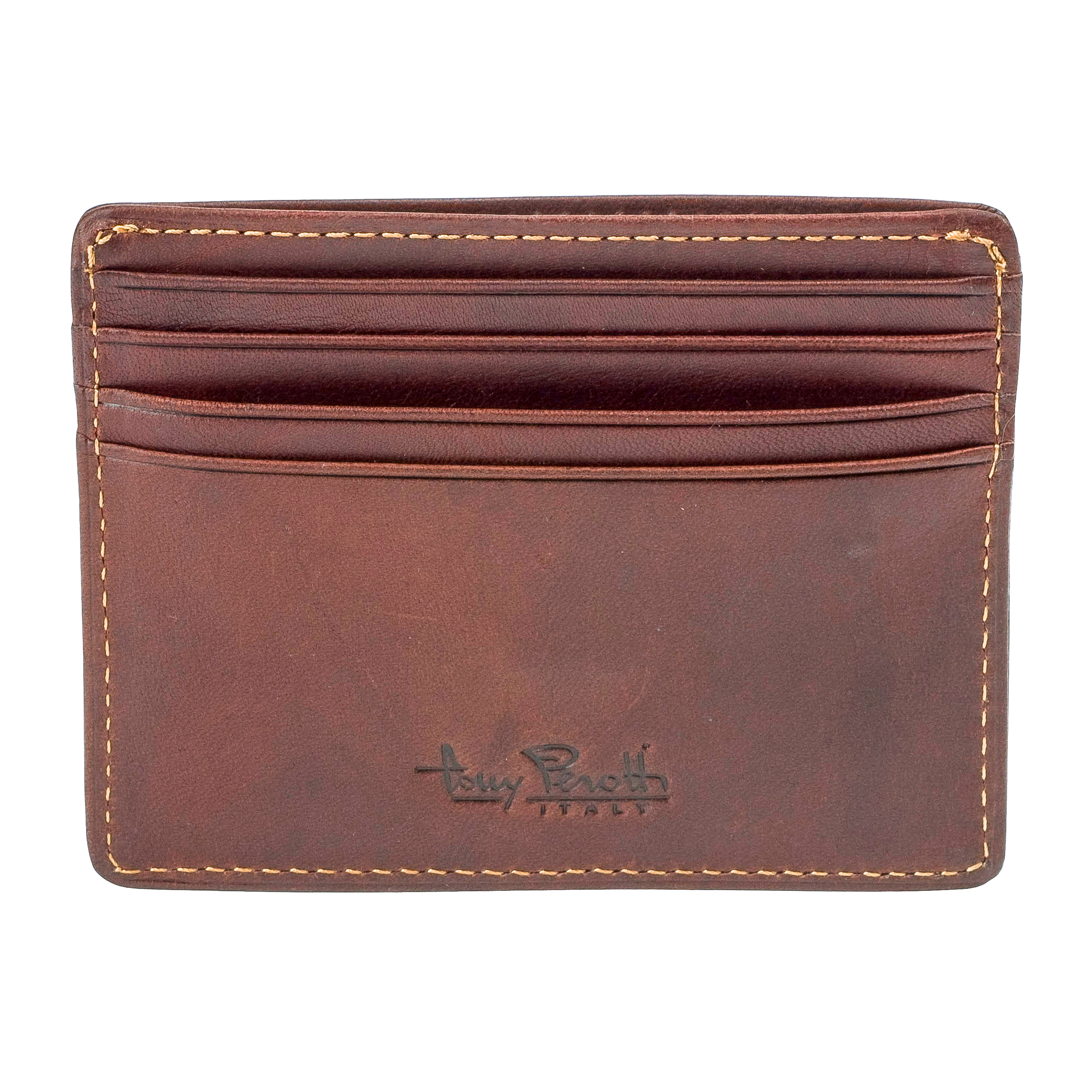 Tony Perotti Creditcard wallet With Small Pocket for notes Brown